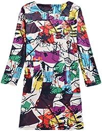Vestiti Donna Eleganti Vintage Stampa Fiore Abiti Estivi Manica Lunga Ragazze  Giovane Rotondo Collo Sciolto Fashion 260dc26f258