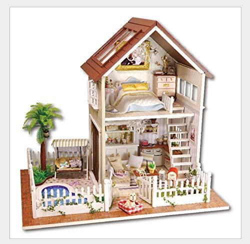 XQWZM DIY Holz puppenhaus DIY Haus mit staubschutz, handgemachte DIY Modell Spielzeug kreative Geschenk Paris Wohnung 32 * 23 * 29 cm (Der Japanische Spielzeug-küche)