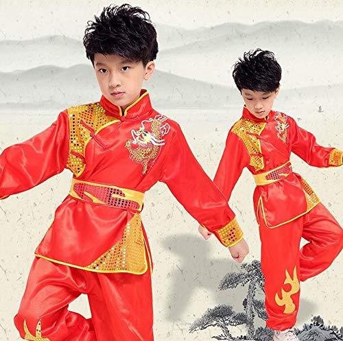 e Uniform Outfit Kung Fu Meister Tai Chi Kostüm Top Shirt Hose Set,Redlong,130cm ()