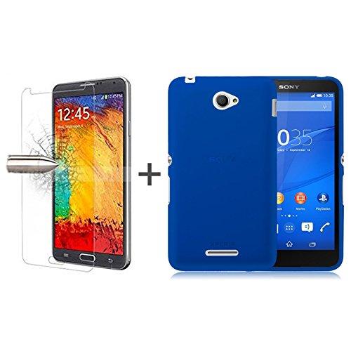 TBOC® Pack: Blau Gel TPU Hülle + Hartglas Schutzfolie für Sony Xperia E4 Dual E2114 E2115. Ultradünn Flexibel Silikonhülle. Panzerglas Displayschutz in Kristallklar in Premium Qualität.