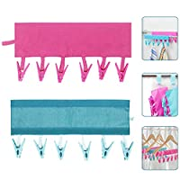 RMENOOR Drying Rack Hanger 2Pcs Socks Drying Racks Folding Hanger Clip Bathroom Rack Clothespin Travel Sock Hanger with 6 Clips for Clothesline Travel Camping Baby Clothes Underwear(Rose Red and Blue)
