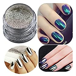 Generic 1 Set Nail Art Champagne Silver Glitter Mirror Powder And Eye Shadow Brush Set Nail Decoration B #05051282