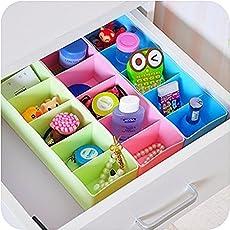 ZZ ZONEX PP Plastic Undergarments Organiser Partition Box (Multicolour, 26.5x8x6.5cm) - Pack of 8