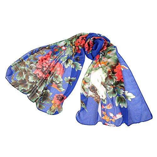 ESHOO Longue Echarpe en mousseline de soie Imprimé Floral Longue Châle Wrap B