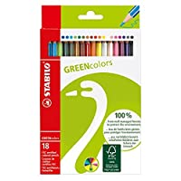 STABILO GREENcolors - Étui carton de 18 crayons de couleur - Coloris assortis