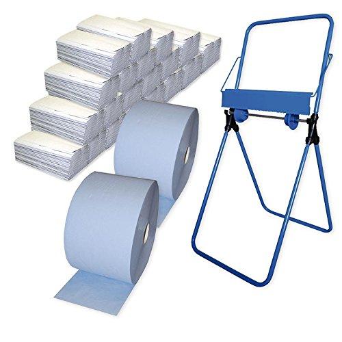 2x Putzrollen-Set Basic (2-lagig, blau) inkl. Halterung Bodenständer, 20x Papiertücher á 150...