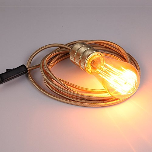 onepre-4m-gold-fabric-cable-plug-in-pendant-light-fitting-set-pendant-lighting-kit-with-e27-es-screw