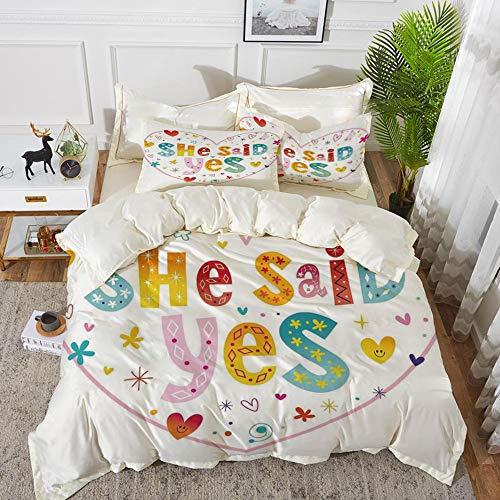 Yaoni Bettwäsche-Set, Mikrofaser, Verlobungsfeier Dekorationen, Hippie Herzen Blumen Punkte Regenbogen farbig sagte sie ja Zitat, Multicolor,1 Bettbezug 220 x 240cm + 2 Kopfkissenbezug 80x80cm