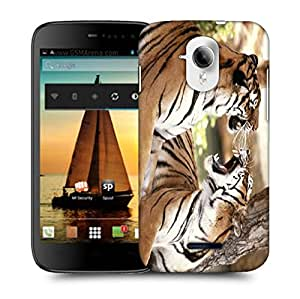 Snoogg Roaring Tiger Designer Protective Back Case Cover For MICROMAX A117