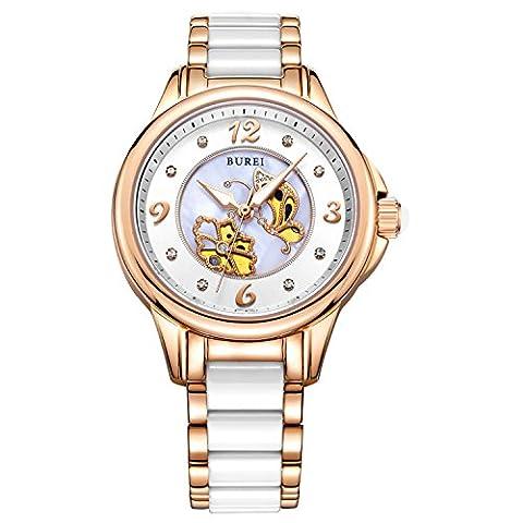 BUREI Women's Pearl Quartz Watches with Sapphire Crystal Rose Gold Bezel and White Ceramic Bracelet