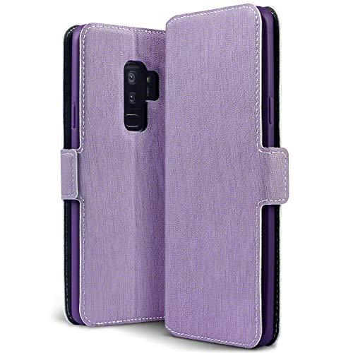 Terrapin, Kompatibel mit Samsung Galaxy S9 Plus Hülle, Premium Leder Flip Handyhülle Samsung Galaxy S9 Plus Tasche Schutzhülle - Lila EINWEG
