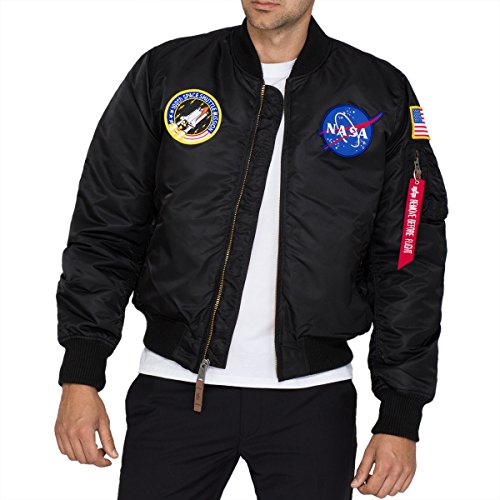 Alpha Industries Herren MA-1 VF NASA Bomberjacke, Schwarz (Black 03), X-Large Alpha Flight Jacket