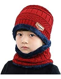 6f6d2bd03 J-TUMIA 2 Unids Invierno Cálido Forro de Lana Beanie Cap Niños Sombreros de  Punto + Bufanda para Niños Niños Niñas (Color   Vino Rojo