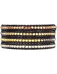 Rafaela Donata Damen-Armband Leather Collection Leder schwarz Metallbeads mehrfarbig 60831001