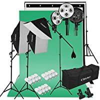 Kit de Iluminación para Estudio de Fotografía CRAPHY Softbox Focos Fotografía, 3 Ventana de Luz, 3 Fondos (Croma Verde, Blanco, Negro) con Soporte de Fondo, 12 Bombilla de 45W, Trípode de Luz, Bolsa Portátil