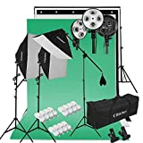 CRAPHY Fotostudio Set, Softbox Dauerlicht mit 3x Softboxen und 12x Fotolampen(45W), Hintergrundsysteme mit 3x Hintergründe(Grün/Weiß/Schwarz) und Ständer, Profi Fotostudio Set mit Tragetasche für Green Screen, Portrait, Modefotografie und Videoaufnahme