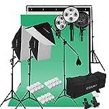 CRAPHY Kit de Iluminación Softbox Focos: 3X Ventana de Luz, 3X Fondos (Croma Verde, Blanco, Negro), 1x Soporte de Fondo, 12x Bombilla 45W, 2X Trípode de Luz, 1x Soporte Jirafa, 2X Bolsa Portátil