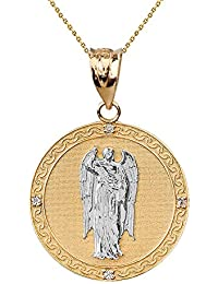 """Two-Tone Solid 14 ct Yellow Gold Archangel Saint Gabriel Diamond Medallion Pendant Necklace 1.15"""" ( 29 mm) (Comes with an 18"""" Chain)"""