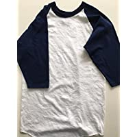 Russell Athletic 3/4Sleeve Boys Béisbol Jersey White/Navy Youth–Large
