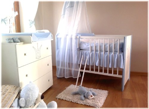 kinderbett baby krone blau incl wickelkommode lattenrost matratze bettw sche komplettset. Black Bedroom Furniture Sets. Home Design Ideas