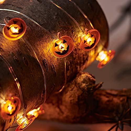 Lights4fun - Guirnalda de 20 Micro LED Blanco Cálido a Pilas con Calabazas para Halloween