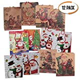 The Twiddlers 12 weihnachtliche Geschenkbeutel Taschen Partytaschen Weihnachten saisonale Dekoration - Verschiedene Designs - Perfekt für Weihnachts- und Partygeschenke