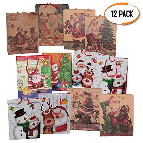 The Twiddlers 12 Sacchetti Regalo a Tema Natalizi - Disegni Assortiti - Perfetti per Buste Regali di Natale e Feste