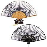 ANPHSIN 2 Stück Faltbar Handfächer und 1 Fächerständer - Chinesischer Handfächer Dekofächer aus Stoff mit Quaste für Sommertage, Party, Hochzeit, Partydankesgeschenke, Flamenco Bauch-Tanz