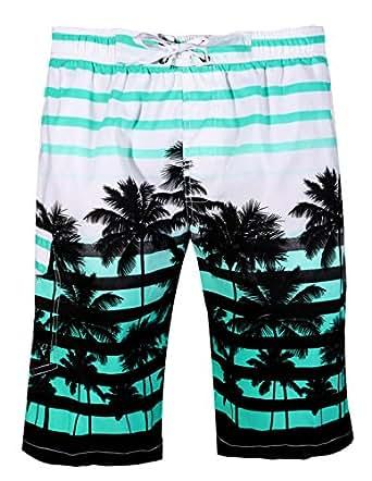 APTRO Men's Quick Dry Board Shorts Printed Palm Beach Swim Wear #1525 Aqua S