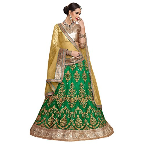 Women'S Green Color Embroidered Lehenga