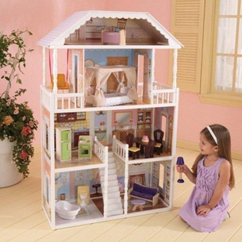 KidKraft Savannah Puppenhaus vier Etagen aus Holz mit 14 Möbeln, (ab 3 Jahren)