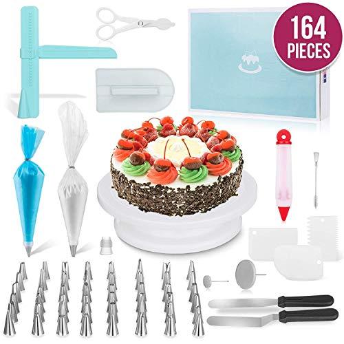 attenspieler, Kuchen dekorieren Ausrüstung, Cupcake Dekorieren Kit liefert rotierenden Plattenspieler, Spritzbeutel, Icing Spatel, Gebäckwerkzeug ()