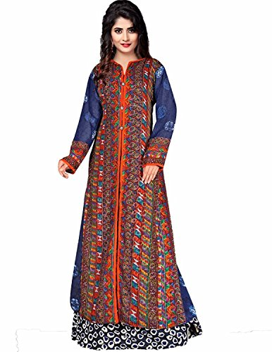 Women's/Girl's Latest Trend Reyon Cotton Crepe Georgette Printed Party Wear Kurti (Multi-Coloured)