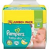 Pampers Baby-Dry Windeln Gr. 4+ (9-18 kg), Jumbo Plus Pack, 1er Pack (1 x 76 Stück)