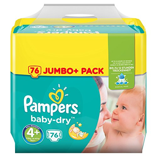 Pampers Baby-Dry Windeln Gr. 4+ (9-18 kg), Jumbo Plus Pack, 1er Pack (1 x 76 Stück)
