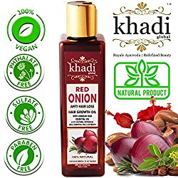 ✔HOW THIS OIL BENEFITS YOU? Red Onion is a great source of Sulfur. Sulfur is found within amino acids, which are components of Keratin. Keratin is known to be sulfur-rich are needed for growing strong hair. When added to the hair and scalp, Khadi Glo...