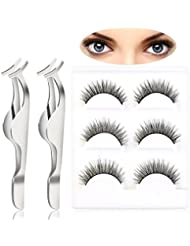 Pixnor 6pcs Natural Cross Thick False eyelashes fake eye lashes with 2pcs Remover Clip Tweezers Nipper