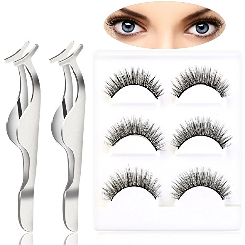 Pixnor 3 paia lungo makeup false ciglia e 2pcs ciglia finte estensione applicatore remover clip pinzette nipper set nero