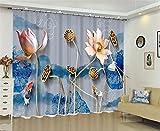 LX-curtain Polyester Blackout Vorhang, Dreidimensionale Lotus Karpfen Drucken Fenster Jalousien Anti-UV, Lärm verhindern, Strahlung mit Schlafzimmer Wohnzimmer Dekoration zu verhindern, 142*98 inch