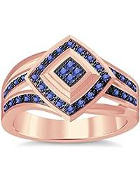 Silvernshine 1.35Ctw Round Cut Tanzanite Simuleted Diamonds 14K Rose Gold Plated Engagement Ring