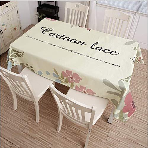 QWEASDZX Tischdecke Ländlicher Stil Baumwolle und Leinen Kleine frische rechteckige Tischdecke Geeignet für drinnen und draußen Wiederverwendbare quadratische Tischdecke 90x140cm