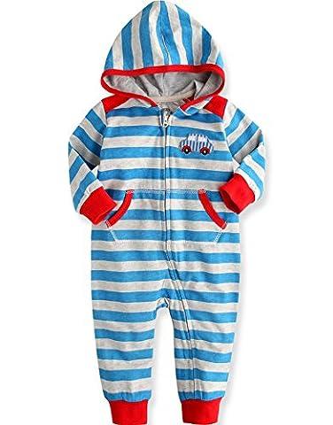 Vaenait Baby 80-92 Maedchen Infant Hooded Fruehling Jumpsuit Rompers Baby Best Driver Blue 18-24M