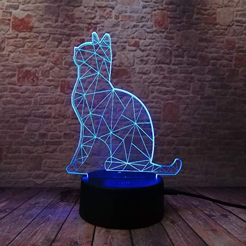 WangZJ 3d Led Illusion Lampe Nachtlicht/party Dekoration Lampe / 7 Farbwechsel Fern/halloween Geschenk/Faule katze -