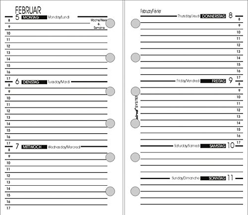 Bind Kalendereinlage A7 2019 1 Woche = 2 Seiten 3-sprachig