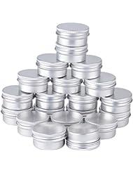 Set mit 20 leeren Töpfen 15ml, Silber Aluminium, Kosmetik, Salben, Schraubdeckel