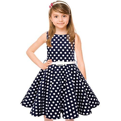 Maedchen 1950er Vintage Retro Baumwolle Kleid Hepburn Stil Kleid Blumen Kleid Tupfen Kleid