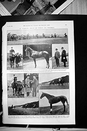 Impresión Antigua del Golf P Dawson Currie1910 del Equipo del Polo de los Protectores de Caballo Que Compite Con de Goodwood
