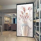 3D estéreo Forma de florero Pegatinas de pared Desmontable Autoadhesivo Entrada corredor mural decoración (color : D, Tamaño : 50 * 100cm)
