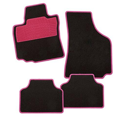 CarFashion 241493 Auto Fussmatten Set ohne Mattenhalter Colori-Textil, Rosa, 4-teilig