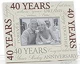 Bilderrahmen zum 40. Hochzeitstag (Rubinhochzeit), Aufschrift in englischer Sprache, 15 x 10 cm